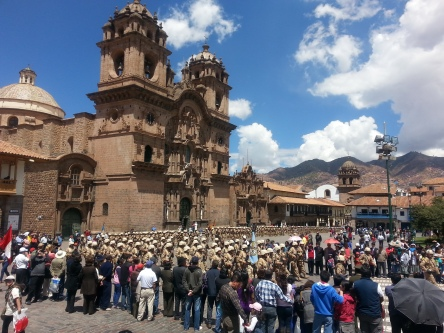 Military parade in Cuzco, Peru