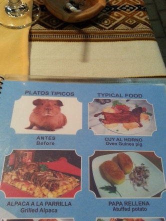 Peruvian Menu in Cuzco